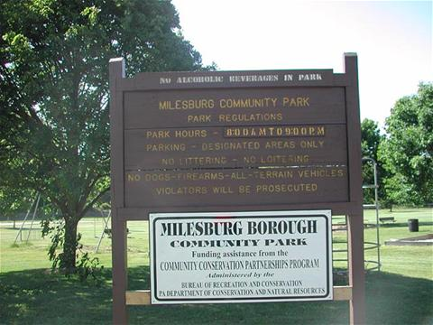 Milesburg Borough Park Sign